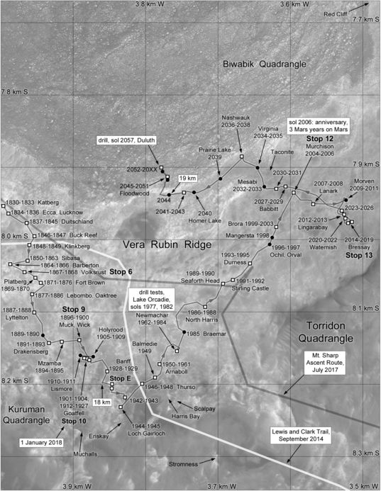 Phil Stooke's Curiosity Route Map Section 15: Vera Rubin Ridge Walkabout (sols 1830-2057)