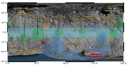 Ryugu feature map with landing site
