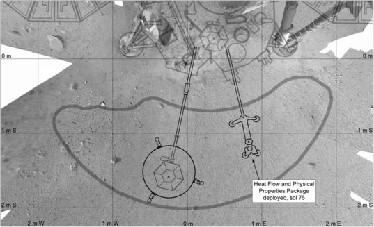 InSight workspace map as of sol 76, after HP3 placement