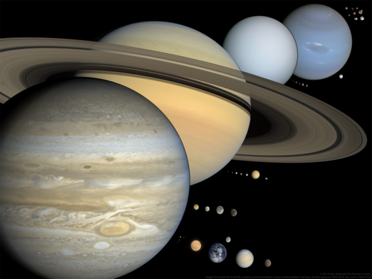 Scale solar system presentation slide (version 1)