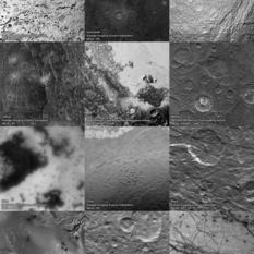 The solar system at 1 kilometer per pixel (labeled)