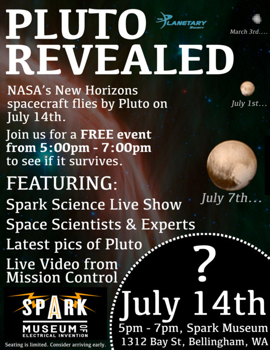 Pluto Revealed Poster -- July 14th, 2015, 5pm - 7pm in Bellingham, WA
