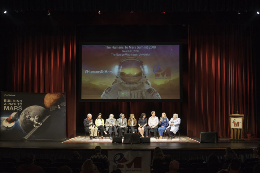 """Why Mars?"" closing panel at the 2018 Humans to Mars Summit (wide view)"
