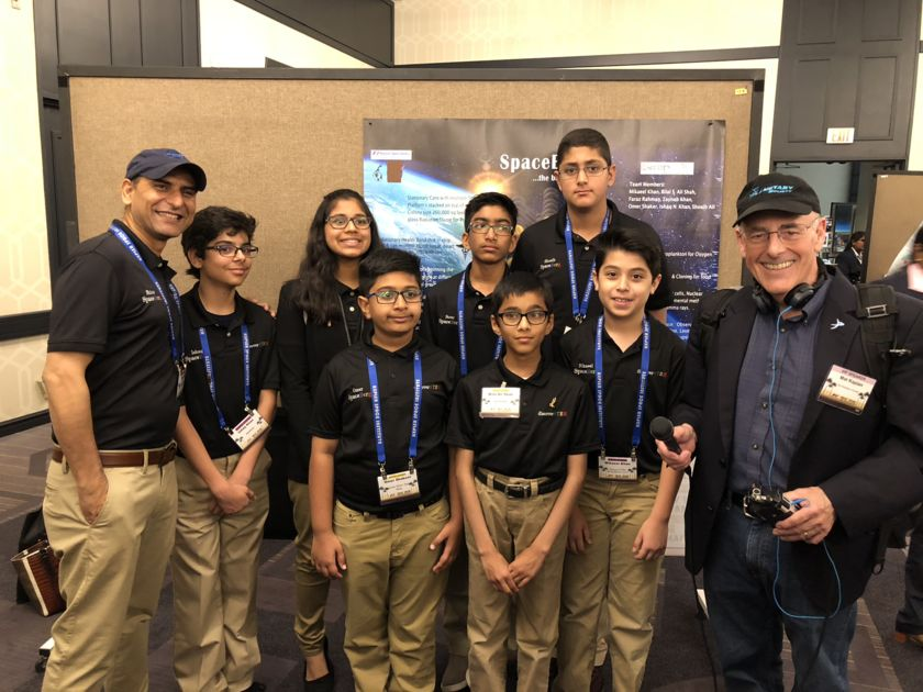 Mat Kaplan with a team of Texas students