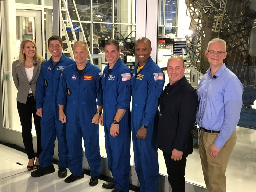 SpaceX President and COO Gwynne Shotwell with other executives and the SpaceX and NASA astronauts who will fly on the first two human missions by Crew Dragon