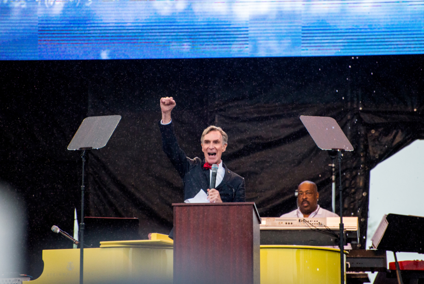 Planetary Society CEO Bill Nye gives a speech at the March for Science in Washington, D.C., April 22nd, 2017
