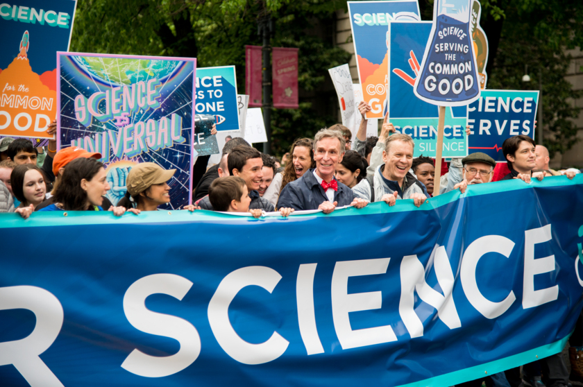 Planetary Society CEO Bill Nye joins marchers at the March for Science in Washington, D.C., April 22nd, 2017 (wide)