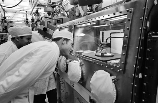 Astronaut Dave Scott in the Lunar Receiving Lab