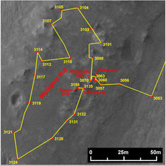 Opportunity's route around Matijevic Hill