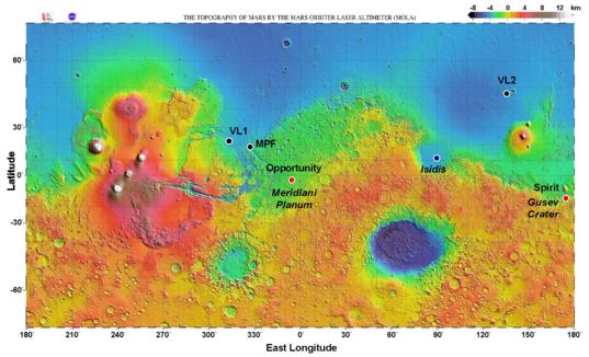MER landing sites