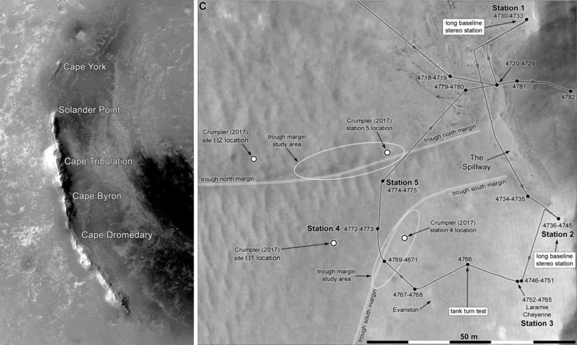 Endeavour's west rim and Oppy's recent roves as of August 2017