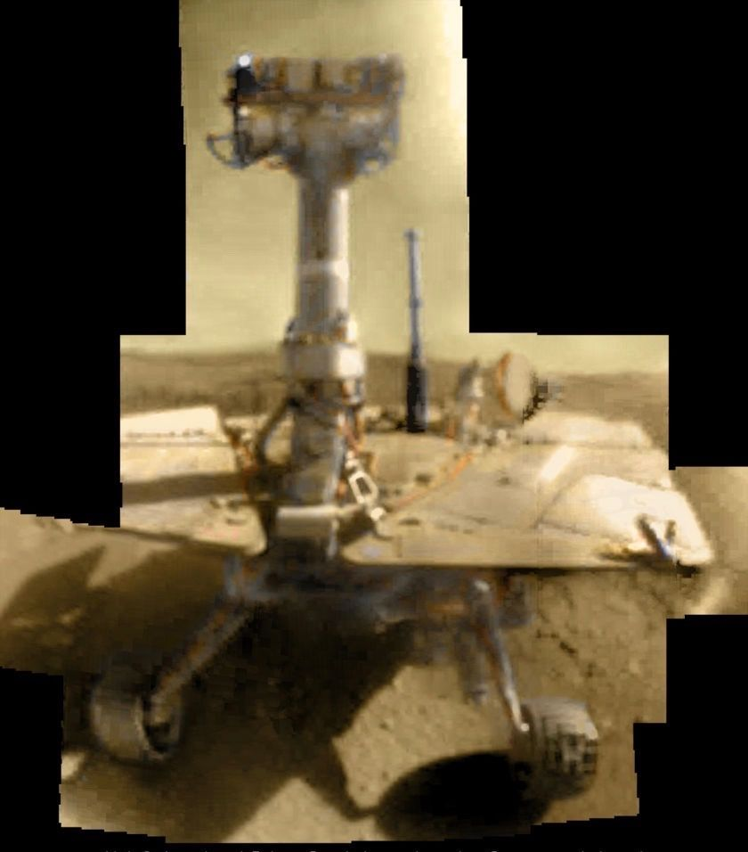 Opportunity sol 5000 self-portrait, extended on sol 5006