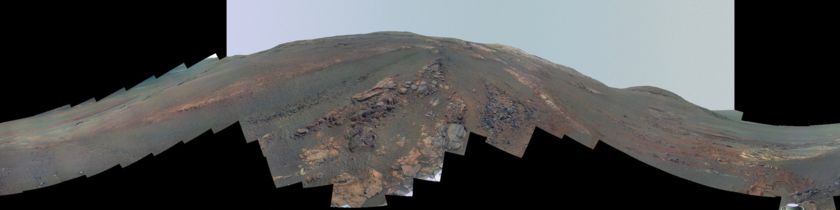 Opportunity's pre-storm panorama (enhanced color)