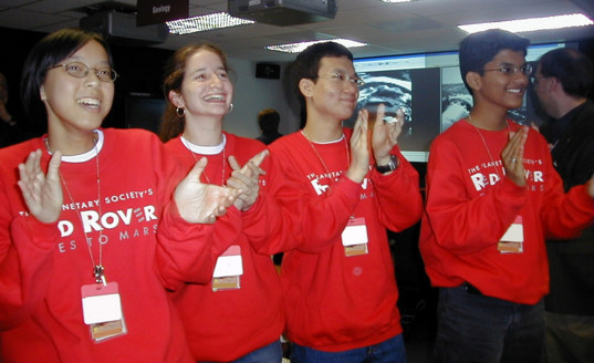Student Astronauts: Wei Lin, Abby, Shih-Han, and Vignan celebrating the first photos from Opportunity