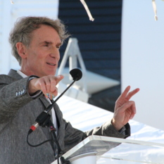Bill Nye speaking at the Kennedy Space Center Rocket Garden