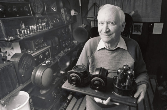 Patrick L. Stewart, W7GVC, in his radio museum, 1990