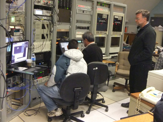 Radar Astronomers looking at the latest pictures of 2005 YU55