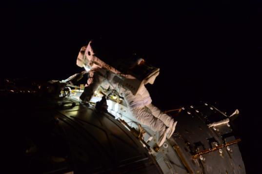 Terry Virts during spacewalk