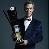 Bill Nye with LightSail Model