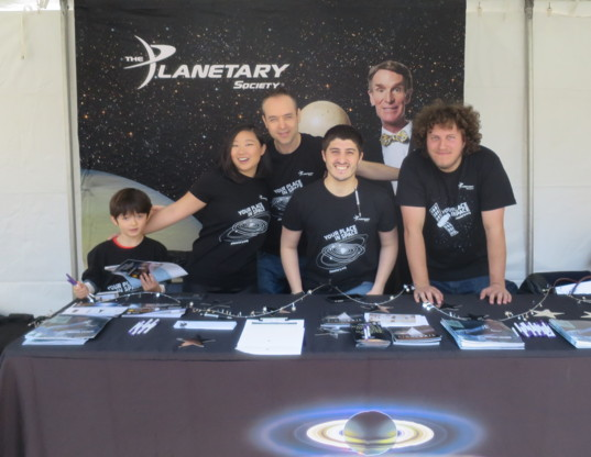 Volunteers at The Planetary Society's Earth Day booth