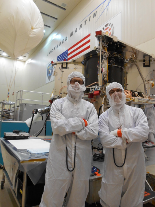 PI Dante Lauretta (r.) and Kevin Walsh in the Lockheed Martin clean room with OSIRIS-REx