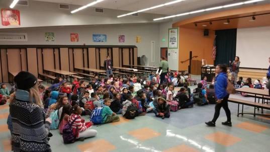 Los Angeles, CA Volunteers at a public elementary school