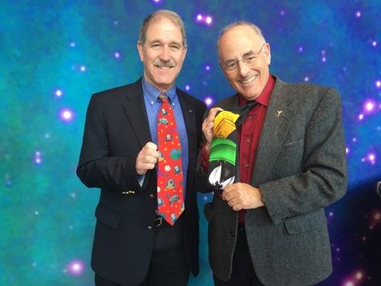 NASA Associate Administrator John Grunsfeld and Mat Kaplan are proud of their space ties