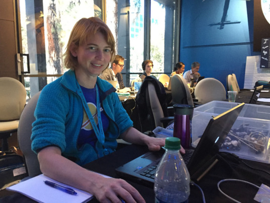 Emily Lakdawalla in the Juno JOI Media Center at JPL