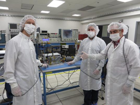 DJ Byrne, Don Heyer, Raul Perez with a TDS electronics