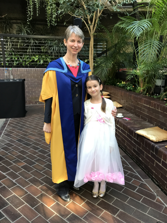 Emily Lakdawalla and daughter at The Open University honorary degree ceremony
