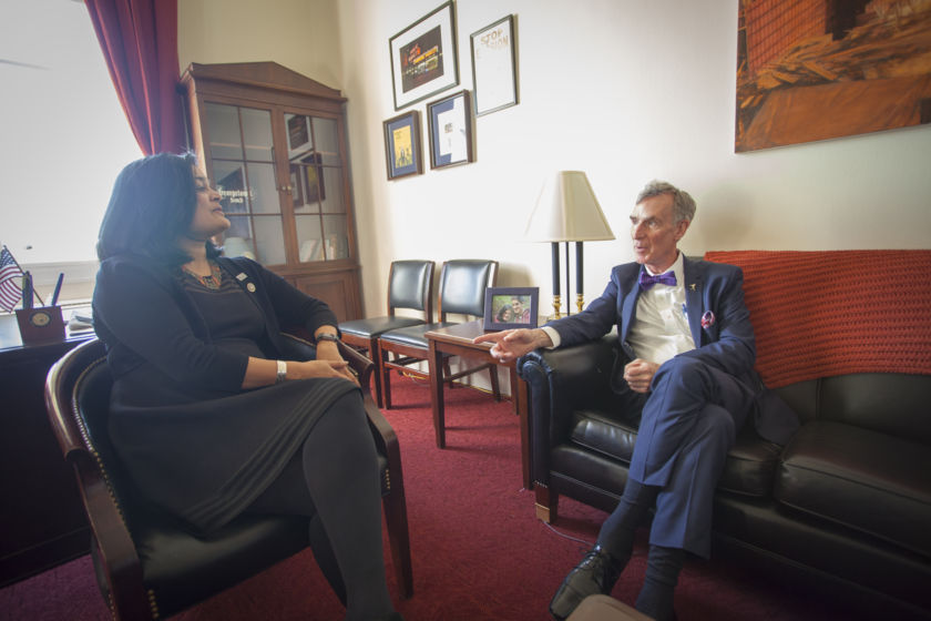 Rep. Pramila Jayapal (D-WA) and Bill Nye