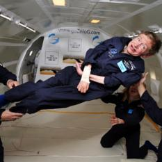 Stephen Hawking enjoys zero gravity