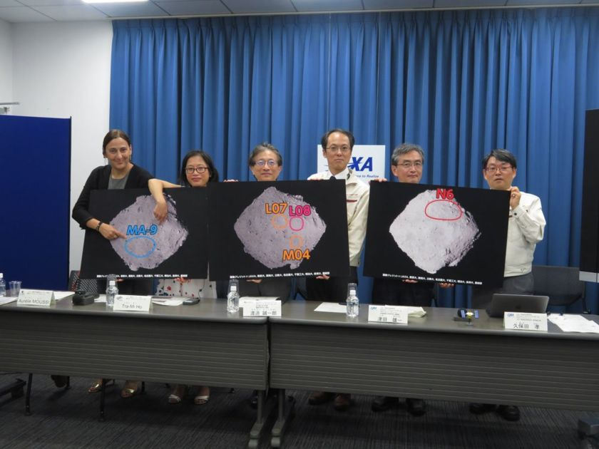 Hayabusa2 team announcing candidate Ryugu landing sites