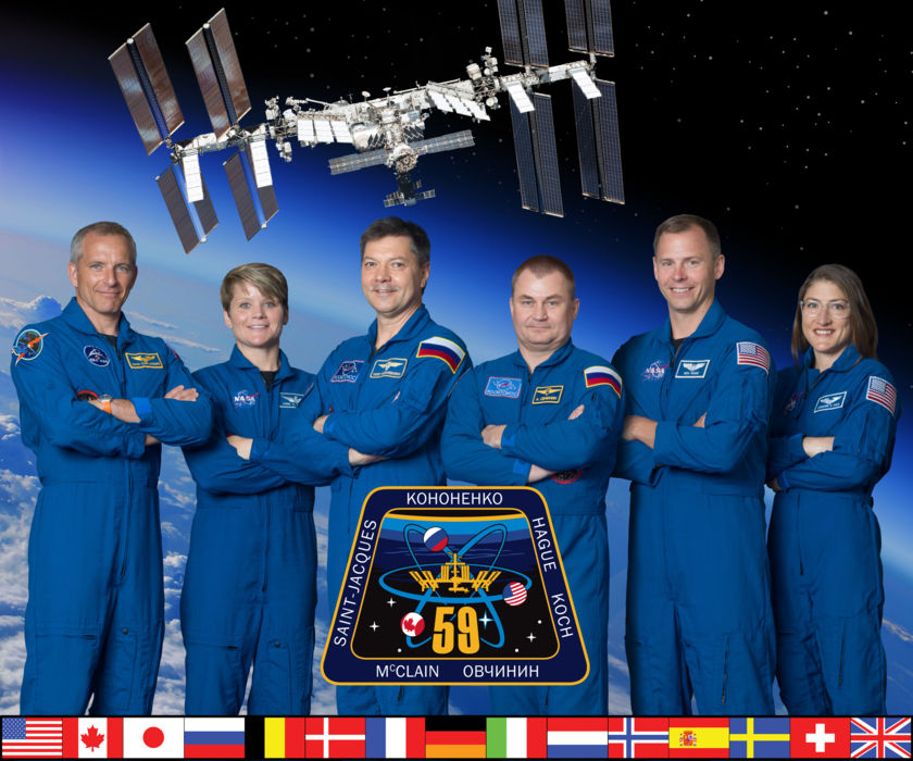 Expedition 59 full crew portrait