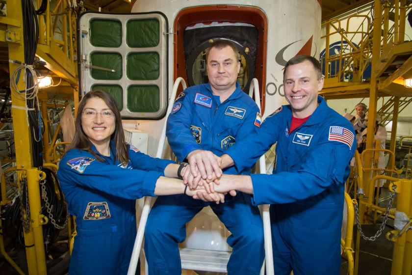 Soyuz MS-12 crew prior to launch