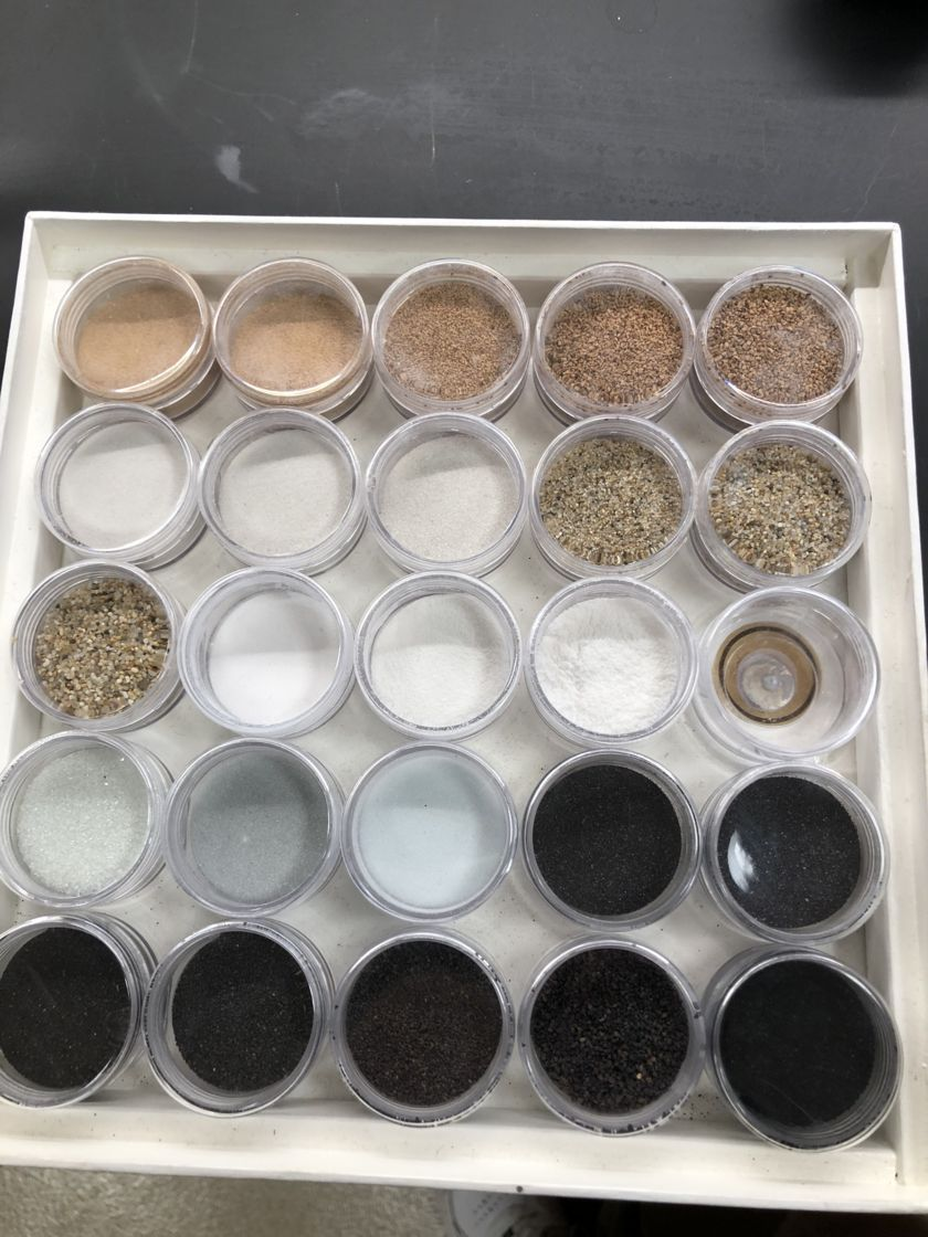 Samples of simulated regolith in Sarah Hörst's lab.
