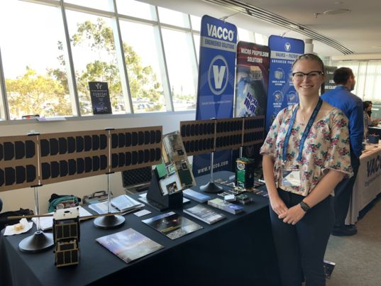 Emily Mattle at the 2019 Cubesat Developers Workshop