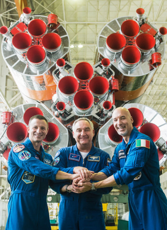 Soyuz MS-13 crew prior to launch