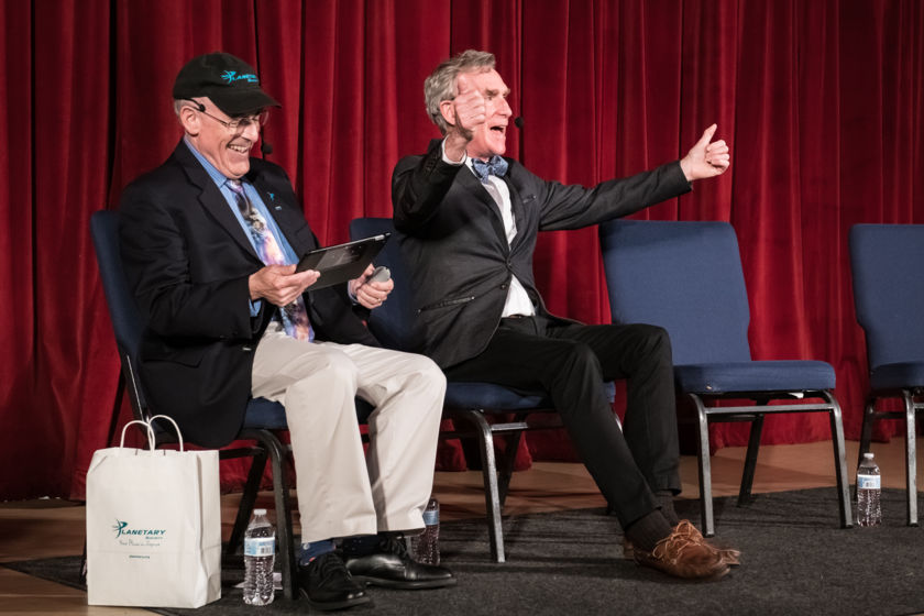 Mat Kaplan and Bill Nye onstage for Planetary Radio Live