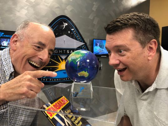 Mat Kaplan and Bruce Betts with Mova Earth LightSail 2 globe