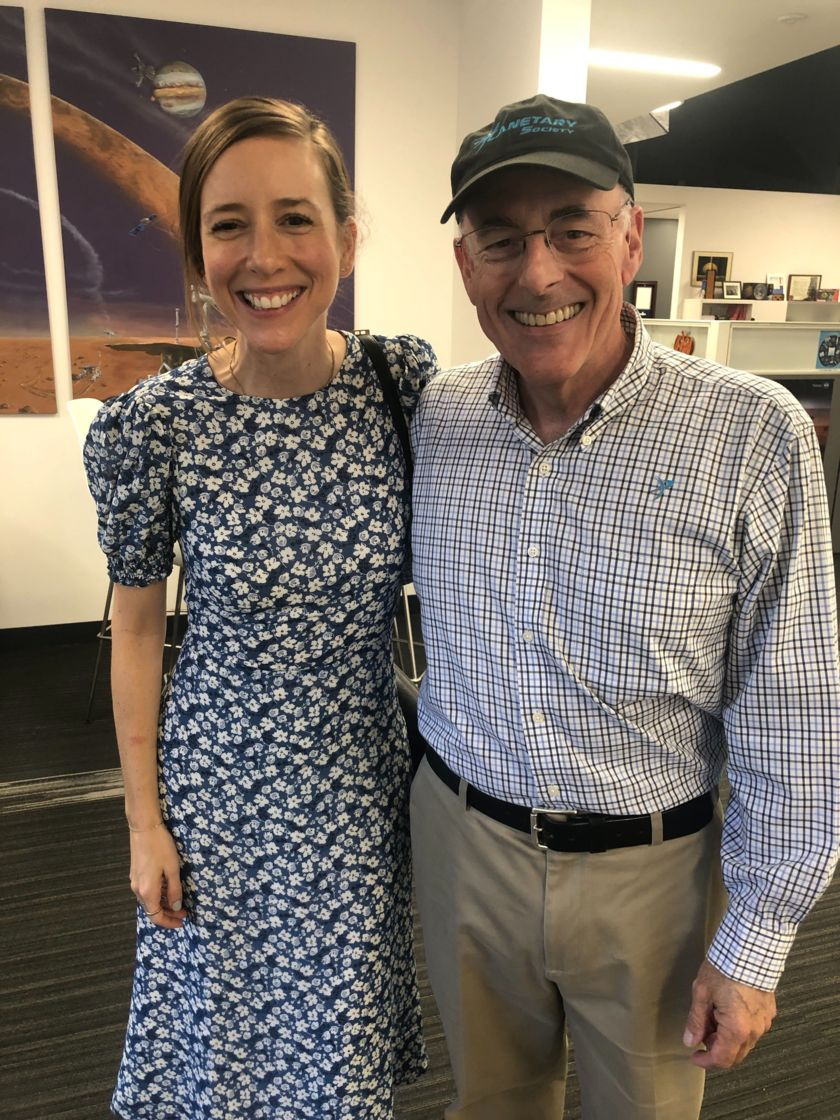 Sasha Sagan and Mat Kaplan at Planetary Society Headquarters