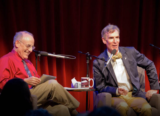 Mat Kaplan and Bill Nye during Planetary Radio Live