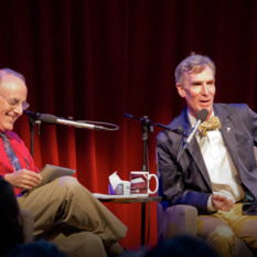 Mat Kaplan and Bill Nye during Planetary Radio Live