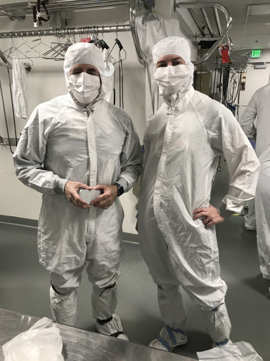 Mat Kaplan and Emily Lakdawalla in JPL clean room suits