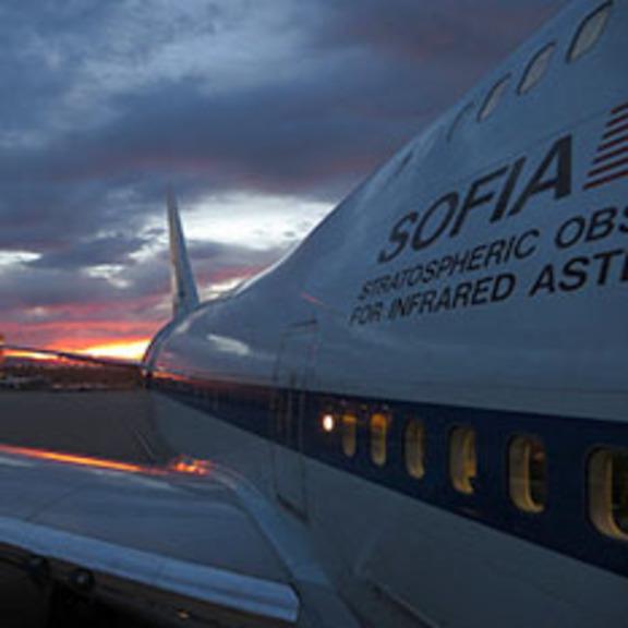 Sunset behind SOFIA