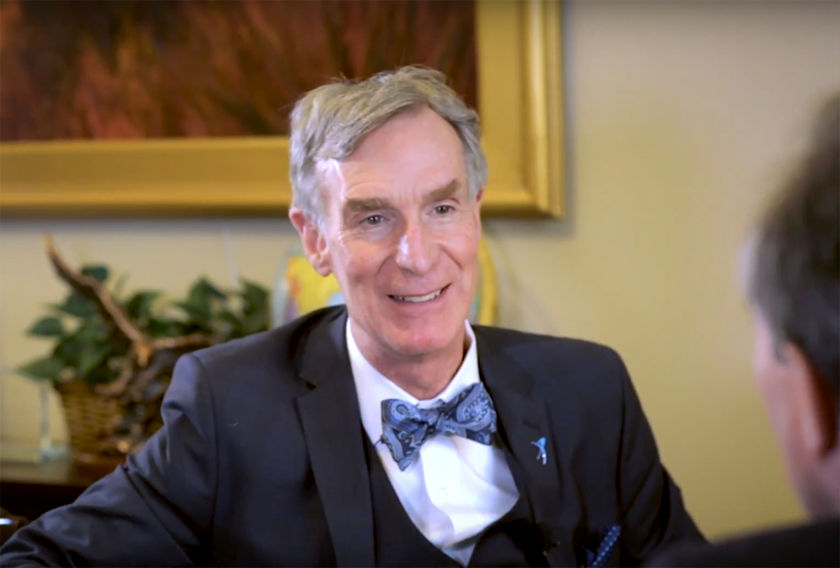 Bill Nye discussing Mars plans with Ed Perlmutter head shot
