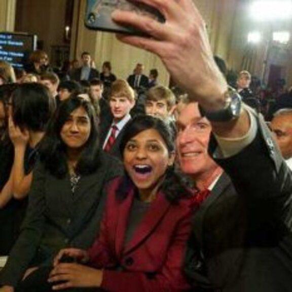 Shree Bose and Bill Nye head shot