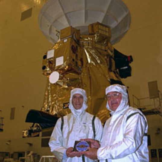Charley Kohlhase and Richard Spehalski with Cassini and the DVD head shot