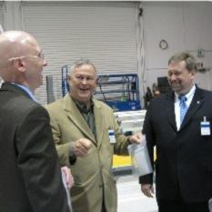 Nathan Barnes of L'Garde enjoying a moment with Congressman Dana Rohrabacher and NASA Chief Technologist Mason Peck head shot