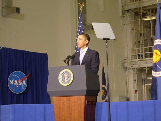 President Barack Obama speaks at the Space Conference